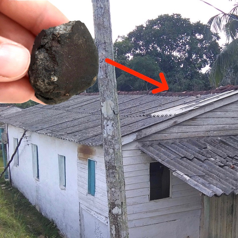 Hit a house! Viñales meteorite + broken roof panel.