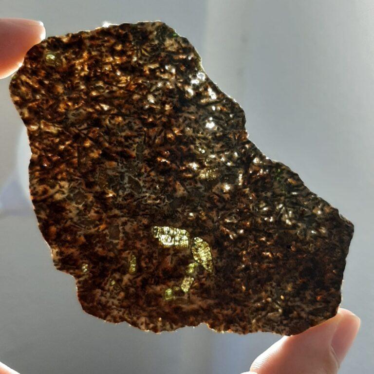 Erg Chech 002 meteorite. Oldest lava in Solar System. Slice.