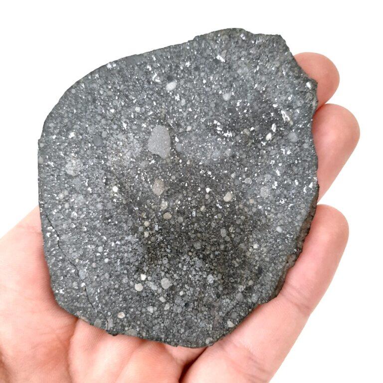 Aba Panu meteorite. L3 chondrite. Galaxies of chondrules.